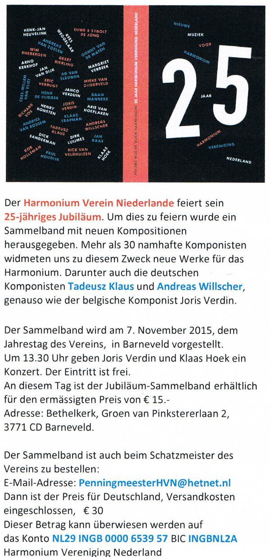 25. Jubiläum - Harmonium Verein Niederlande